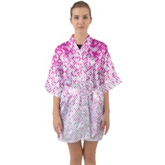 Halftone Dot Background Pattern Quarter Sleeve Kimono Robe by Celenk