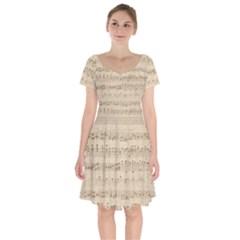Vintage Beige Music Notes Short Sleeve Bardot Dress by Celenk