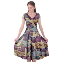 Textile Fabric Cloth Pattern Cap Sleeve Wrap Front Dress by Celenk