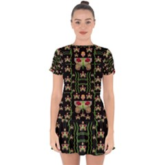 Roses In The Soft Hands Makes A Smile Pop Art Drop Hem Mini Chiffon Dress by pepitasart