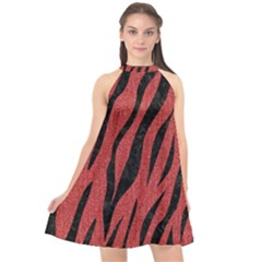 Skin3 Black Marble & Red Denim Halter Neckline Chiffon Dress  by trendistuff