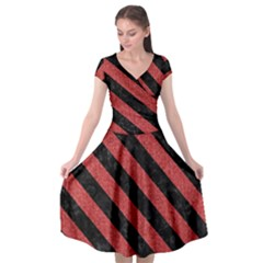 Stripes3 Black Marble & Red Denim Cap Sleeve Wrap Front Dress by trendistuff