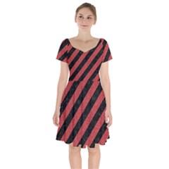 Stripes3 Black Marble & Red Denim (r) Short Sleeve Bardot Dress by trendistuff