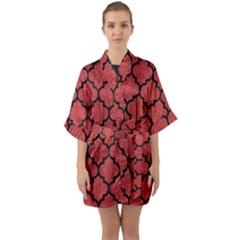 Tile1 Black Marble & Red Denim Quarter Sleeve Kimono Robe