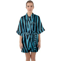 Skin4 Black Marble & Teal Brushed Metal (r) Quarter Sleeve Kimono Robe by trendistuff
