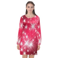 Christmas Star Advent Background Long Sleeve Chiffon Shift Dress  by Celenk