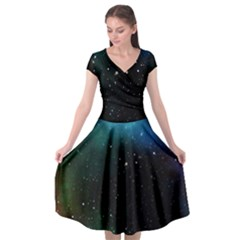 Galaxy Space Universe Astronautics Cap Sleeve Wrap Front Dress by Celenk