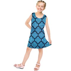 Tile1 Black Marble & Teal Brushed Metal Kids  Tunic Dress by trendistuff