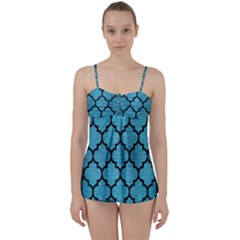 Tile1 Black Marble & Teal Brushed Metal Babydoll Tankini Set by trendistuff