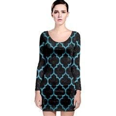 Tile1 Black Marble & Teal Brushed Metal (r) Long Sleeve Bodycon Dress by trendistuff