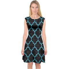 Tile1 Black Marble & Teal Brushed Metal (r) Capsleeve Midi Dress by trendistuff
