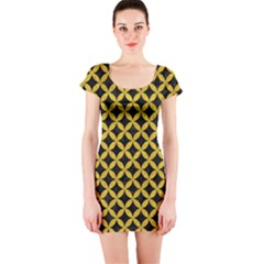 Circles3 Black Marble & Yellow Denim (r) Short Sleeve Bodycon Dress by trendistuff