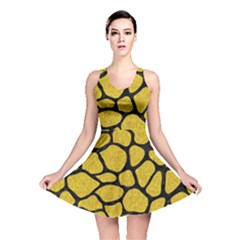 Skin1 Black Marble & Yellow Denim (r) Reversible Skater Dress by trendistuff