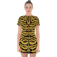 Skin2 Black Marble & Yellow Denim Drop Hem Mini Chiffon Dress by trendistuff