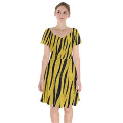 Skin3 Black Marble & Yellow Denim Short Sleeve Bardot Dress