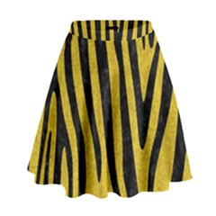 Skin4 Black Marble & Yellow Denim (r) High Waist Skirt by trendistuff