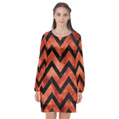 Chevron9 Black Marble & Copper Paint Long Sleeve Chiffon Shift Dress  by trendistuff