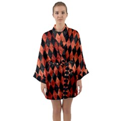 Diamond1 Black Marble & Copper Paint Long Sleeve Kimono Robe