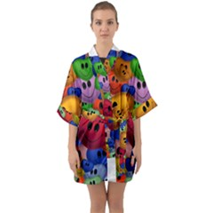 Heart Love Smile Smilie Quarter Sleeve Kimono Robe by Celenk