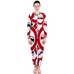 Overtaking Traffic Sign Onepiece Jumpsuit (ladies)  by Celenk