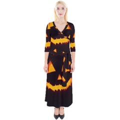Pumpkin Helloween Face Autumn Quarter Sleeve Wrap Maxi Dress by Celenk