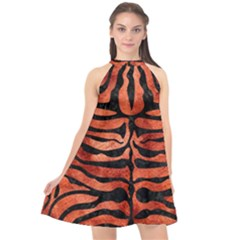 Skin2 Black Marble & Copper Paint Halter Neckline Chiffon Dress  by trendistuff