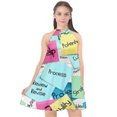 Stickies Post It List Business Halter Neckline Chiffon Dress  by Celenk
