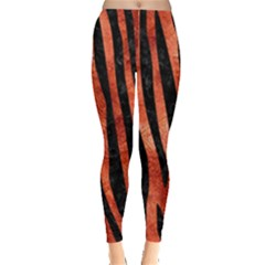 Skin4 Black Marble & Copper Paint (r) Leggings  by trendistuff