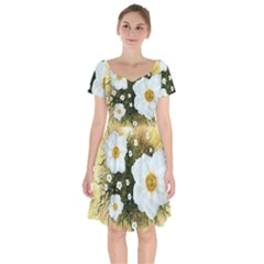 Summer Anemone Sylvestris Short Sleeve Bardot Dress by Celenk