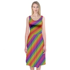 Spectrum Psychedelic Green Midi Sleeveless Dress