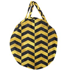 Chevron2 Black Marble & Gold Paint Giant Round Zipper Tote