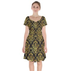 Damask1 Black Marble & Gold Paint (r) Short Sleeve Bardot Dress by trendistuff