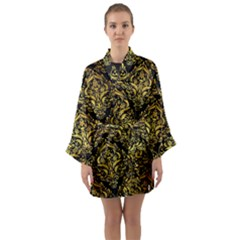 Damask1 Black Marble & Gold Paint (r) Long Sleeve Kimono Robe