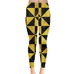 Triangle1 Black Marble & Gold Paint Leggings  by trendistuff