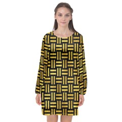 Woven1 Black Marble & Gold Paint (r) Long Sleeve Chiffon Shift Dress