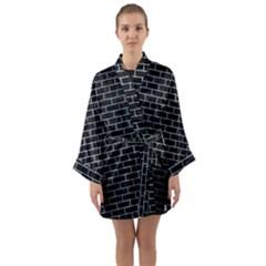 Brick1 Black Marble & Silver Paint (r) Long Sleeve Kimono Robe by trendistuff
