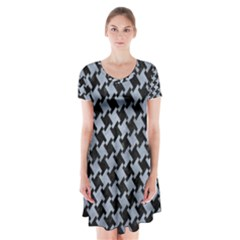 Houndstooth2 Black Marble & Silver Paint Short Sleeve V Neck Flare Dress by trendistuff