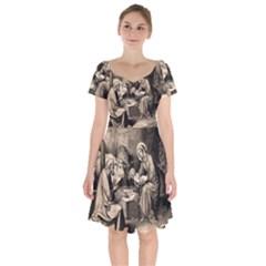 The Birth Of Christ Short Sleeve Bardot Dress by Valentinaart