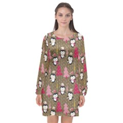 Christmas Pattern Long Sleeve Chiffon Shift Dress  by tarastyle