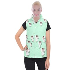 Christmas Angels  Women s Button Up Puffer Vest by Valentinaart