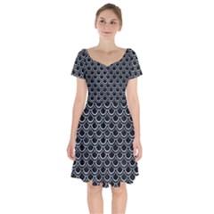 Scales2 Black Marble & Silver Paint (r) Short Sleeve Bardot Dress by trendistuff