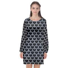 Scales3 Black Marble & Silver Paint (r) Long Sleeve Chiffon Shift Dress  by trendistuff