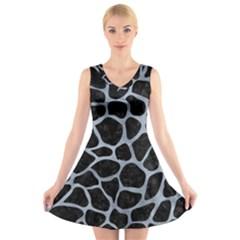 Skin1 Black Marble & Silver Paint V Neck Sleeveless Skater Dress by trendistuff