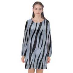 Skin3 Black Marble & Silver Paint Long Sleeve Chiffon Shift Dress  by trendistuff