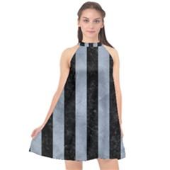 Stripes1 Black Marble & Silver Paint Halter Neckline Chiffon Dress  by trendistuff