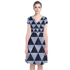 Triangle3 Black Marble & Silver Paint Short Sleeve Front Wrap Dress