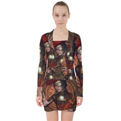 Steampunk, Wonderful Steampunk Lady V Neck Bodycon Long Sleeve Dress by FantasyWorld7