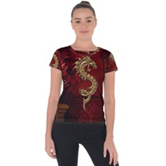 Wonderful Mystical Dragon, Vintage Short Sleeve Sports Top  by FantasyWorld7
