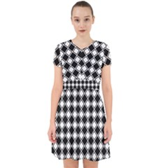 Black White Square Diagonal Pattern Seamless Adorable In Chiffon Dress by Celenk