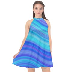 Blue Background Water Design Wave Halter Neckline Chiffon Dress  by Celenk